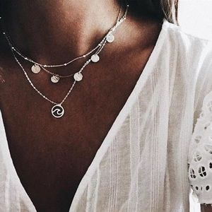 Multi layered Silver Wave Chain Necklace
